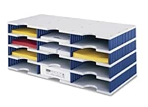 .com : STYRO TRIO 12 COMPARTMENT STAND GRY/BLUE : Office Products
