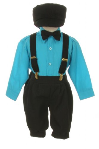 Vintage Dress Suit-Bowtie,Suspenders,Knickers Outfit Set For Boys-Toddler, Black-Turquoise-3T