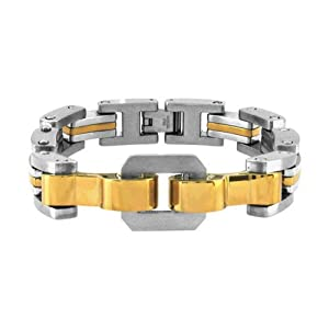 Inox Jewelry Chunky Gold IP Plated and Silver Steel Link Bracelet For Men available at Amazon for Rs.4055