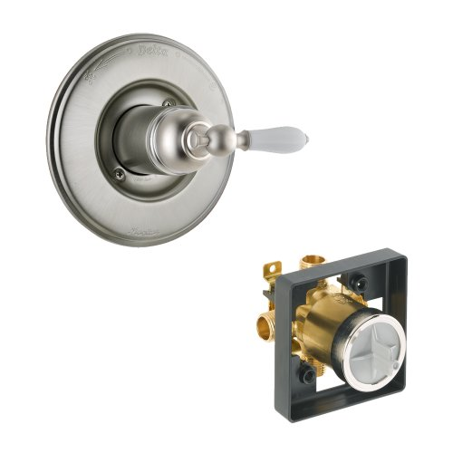 Delta Delta KVODVI-T14055-H712-SS Victorian Valve Only Kit Pressure-Balance Single-Function Cartridge with Porcelain Lever Handle, Brilliance Stainless Brilliance Stainless