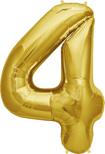 Number 4 - Gold Helium Foil Balloon - 34 inch