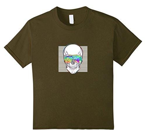 Kids Skull with glasses funny T-shirt 8 Olive