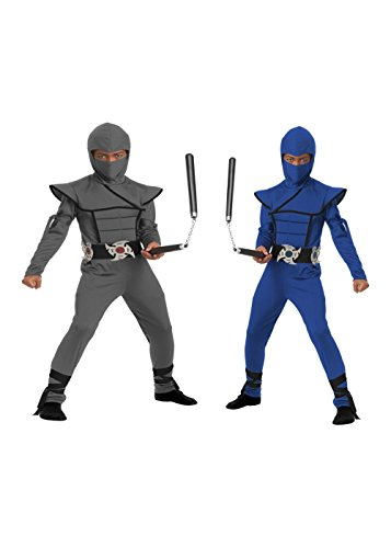 Grey And Blue Stealth Ninja Boys Costume Set (Small (6-8))