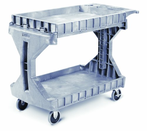 Akro-Mils 30936 2 Shelf Plastic Utility and Service ProCart, 400-Pound Capacity, Grey