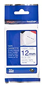 """Brother TZFA3 1/2"""" Navy Blue on White Fabric Iron-on Tape (9.8 ft)"""