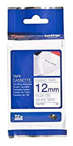 "Brother TZFA3 1/2"" Navy Blue on White Fabric Iron-on Tape (9.8 ft)"