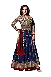 Stunning Blue Colored Embroidered Anarkali Suit