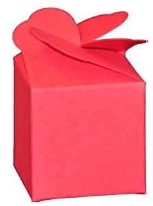 Robin Red Packet of 10 Single Wedding Cupcake / Muffin Boxes with interlocking flower detail lid. Pack of 10 - Size 70mm x 70mm x 70mm - Flat Packed