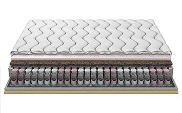 DUO Posh Visco Kokos Latexmatratze Taschenfederkern Latex-Schaum 18cm 3-Schicht gesteppt frotta Abdeckung 200x200 cm