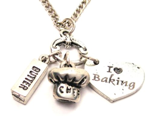 I Love Baking Heart with Stick of Butter and Chef Hat Charms 18
