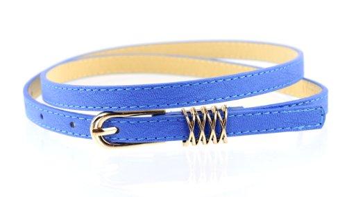 Fabulous New Trendy Skinny Faux Leather Belt w/Round Metal Buckle & Loop (S, Royal Blue)