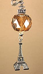 Silver France Eiffel Tower with Amber Gold Faceted Crystal Glass Ceiling Fan Pull Chain