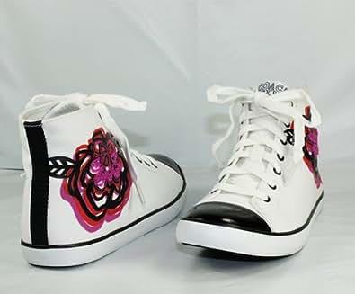 Coach Elektra Black/White Multi Flower Embellished Sneaker Women's Size 8.5 M US