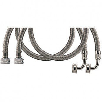 CERTIFIED APPLIANCE WM60SSL2PK Braided Stainless Steel Washing Machine Hose with Elbow, 2 pk (5ft)
