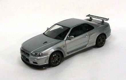 Nissan Skyline GTR R34 V-Spec II Silver 1/24 Scale Diecast Model (japan import)
