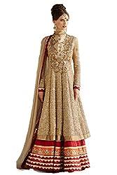 Ninecolours Women's Georgette Salwar Kameez Dress Material (SM0560129 _Beige)