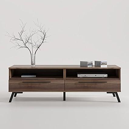 CajonesUnicos - Mueble televisión con dos cajones pata vintage, color del mueble- nogal, color de pata y tirador- blanco, size- 160 cm