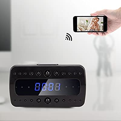 FREDI HD 1080P P2P Wifi Hidden Camera Alarm Clock Remote Surveillance Cameras Mini Video Recorder Night Vision/Motion Delection/Display Temperature/ iOS iPhone iPad/Android Mobile Phone/ PC from Jinbaixun Technology