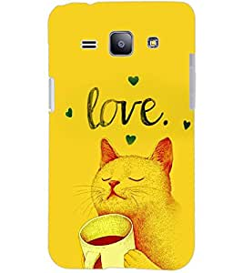 PrintDhaba LOVE CAT D-6340 Back Case Cover for SAMSUNG GALAXY J1 (Multi-Coloured)
