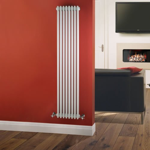 Traditional Victorian 8 x 3 Vertical Designer Column Radiator - Cast Iron Style White - 1800mm x 380mm
