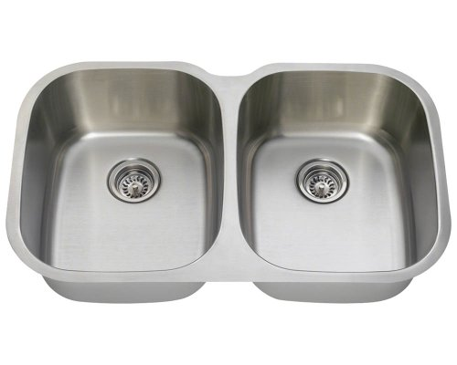 New MR Direct 504-16 Equal Double Bowl Stainless Steel Kitchen Sink