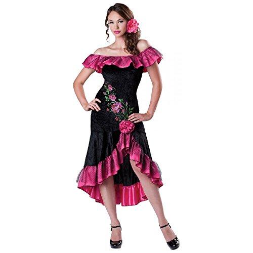 GSG Flamenco Dancer Costume Adult Spanish Senorita Halloween Fancy Dress (Adult Spanish Dancer Costume)