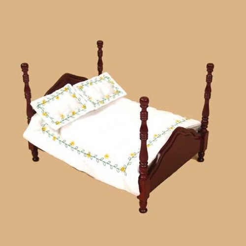 Dollhouse Miniature 3-Pc. Yellow Flower Vine Comforter Set