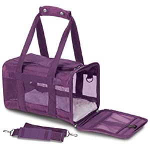 Sherpa Original Deluxe Pet Carriers With Bonus Travel Port-A-Bowl (Plum, Small)