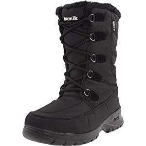 The Kamik Brooklyn boot is made of a waterproof nylon Icebug lining with DriDefense waterproof bootie construction and a moisture wicking soft fleece lining. The boot also features foam and fleece insulation.