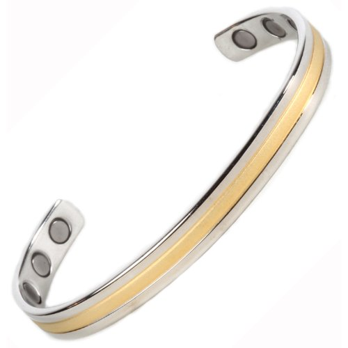 Gold & Silver Magnetic Bangle Bracelet -New Classic (Std) 6 High Strength Magnets - Fits wrists up to 7 3/4 in.