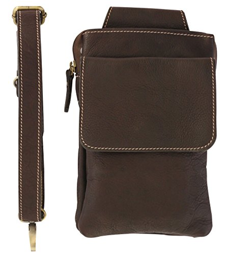 Leather Tool Holster - Belt Loop Shoulder Strap Construction Maintenance Repair (Choco) (Bonsai Tool Bag compare prices)