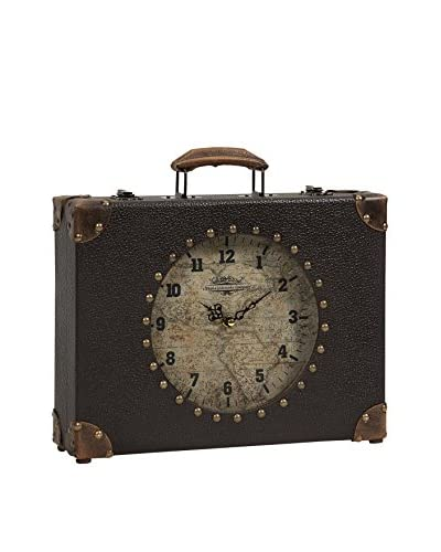World Map Suitcase Clock, Brown