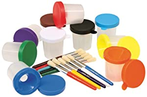 No-Spill Paint Cups & Brushes Assortment