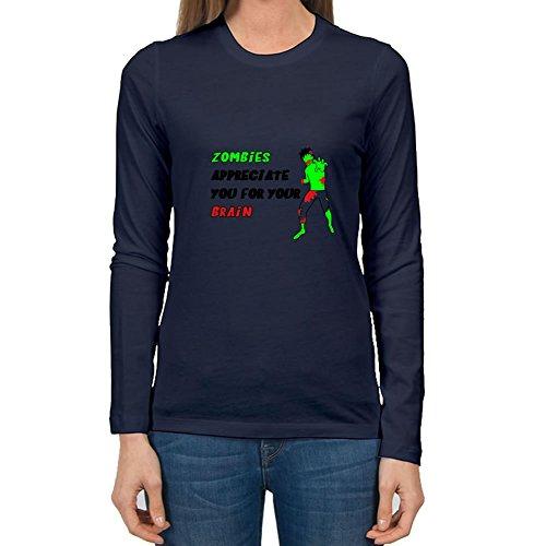 Owenlliott Customized Women Zombies Appreciate Top-shirt - Zombies Appreciate Painting In Small