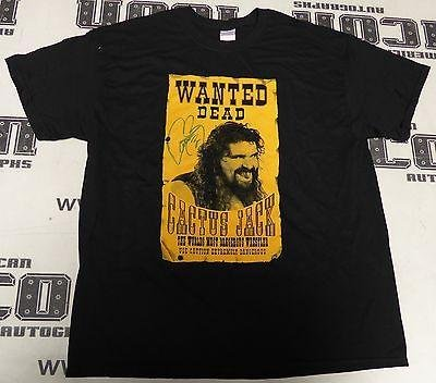Mick Foley Signed Wanted Cactus Jack Shirt COA WWE ECW WCW XL Autograph – PSA/DNA Certified – Autographed Wrestling Miscellaneous Items