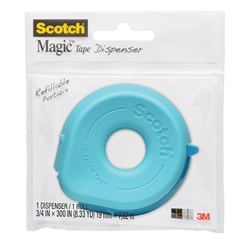 Scotch Dispenser with Magic Tape, 3/4 x 300 Inches, 1-Roll, Colors May Vary (156) (Mini Tape Dispenser compare prices)