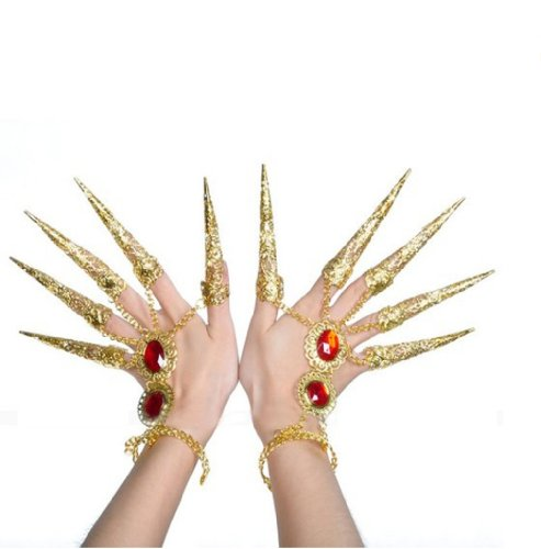 HomuBelly Belly Dance Gypsy Egyptian Bracelet With Gold Finger Nails