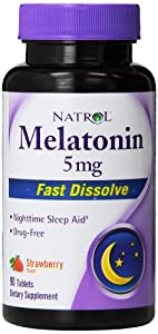 Natrol Melatonin 5mg Fast Dissolve Tablets, Strawberry, 90-Count
