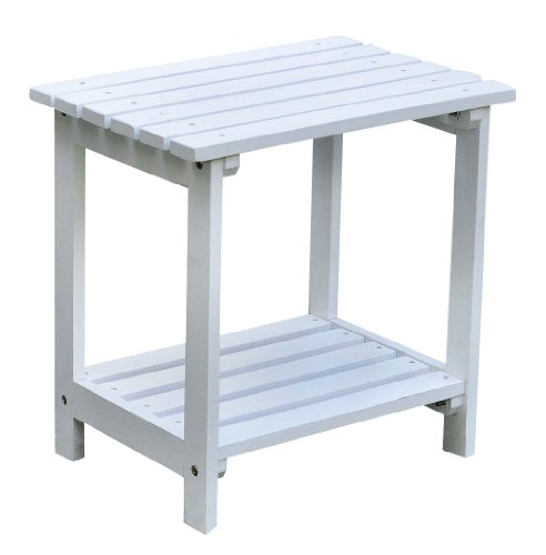 Shine Company Rectangular Side Table, Small, White