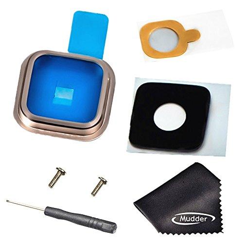 Mudder Accessori di Ricambio 7-in-1 per Samsung Galaxy S5, Indietro Posteriore Fotocamera Lente in Vetro + Copertura di Metallo Anello d'oro + Adesivo + 2 Pcs Vite + Cacciavite + Panno di Pulizia