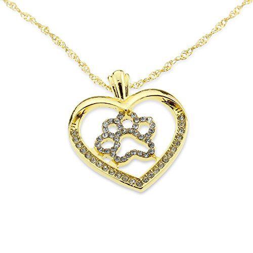 Stylish Dog Paw Pet Lover Gold Silver Heart Iced Out Pendant Love Necklace Best Jewelry Anniversary Gift