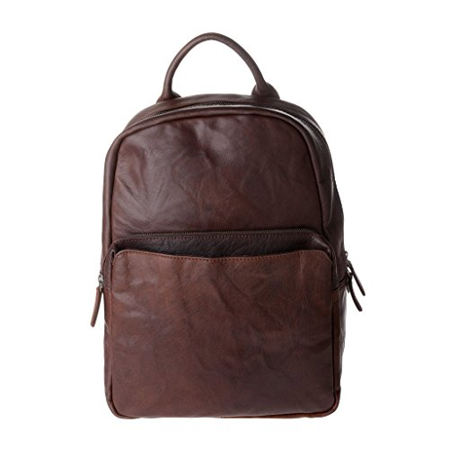 Zaino uomo vintage in pelle stropicciata porta PC notebook a chiusura zip DUDU Marrone