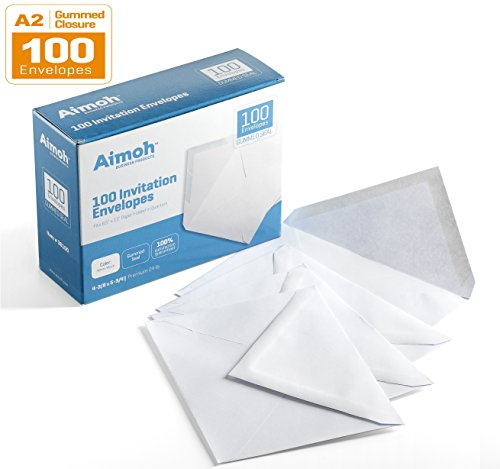 A2 Invitation Envelopes, 4-3/8 X 5-3/4 Inches, 24 lb, White Wove, GUMMED Closure, 100 Envelopes - Ideal for Invitations, Greetings, RSVP, Photo, Wedding Announcement Cards (36100)