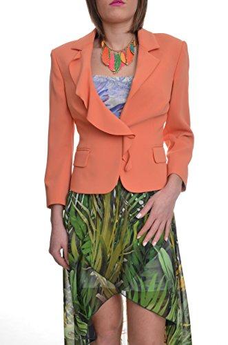 <p>HANITA Giacca donna cerimonia con rouches su collo colore arancio, slim fit</p>