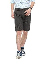 Showoff Men's Grey Slim Fit Solid Casual Chino Shorts
