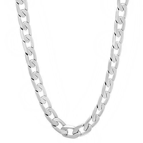 Mens 6Mm 14K White Gold Layered Overlay Flat Cuban Link Curb Chain - 18 Inch