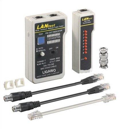 Ligawo ® BNC Testeur de câbles RJ11 RJ12 RJ45 RNIS - Testeur réseau pour le câble de téléphone pour câble, câble BNC