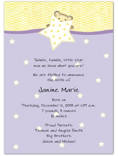 Star Bear Birth Announcements - Set of 20