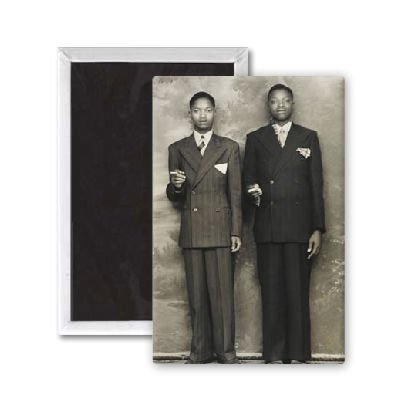 Two sharply-dressed black american men - 3x2 inch Fridge Magnet - large magnetic button - Magnet