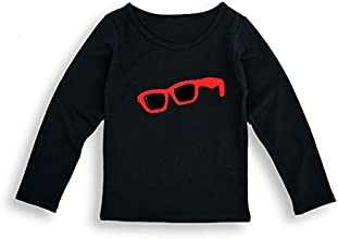 Pipi Little Girls Popular Cute Patched Glasses Long Sleeve T-shirt Tops